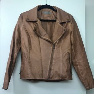 Small faux leather brown jacket
